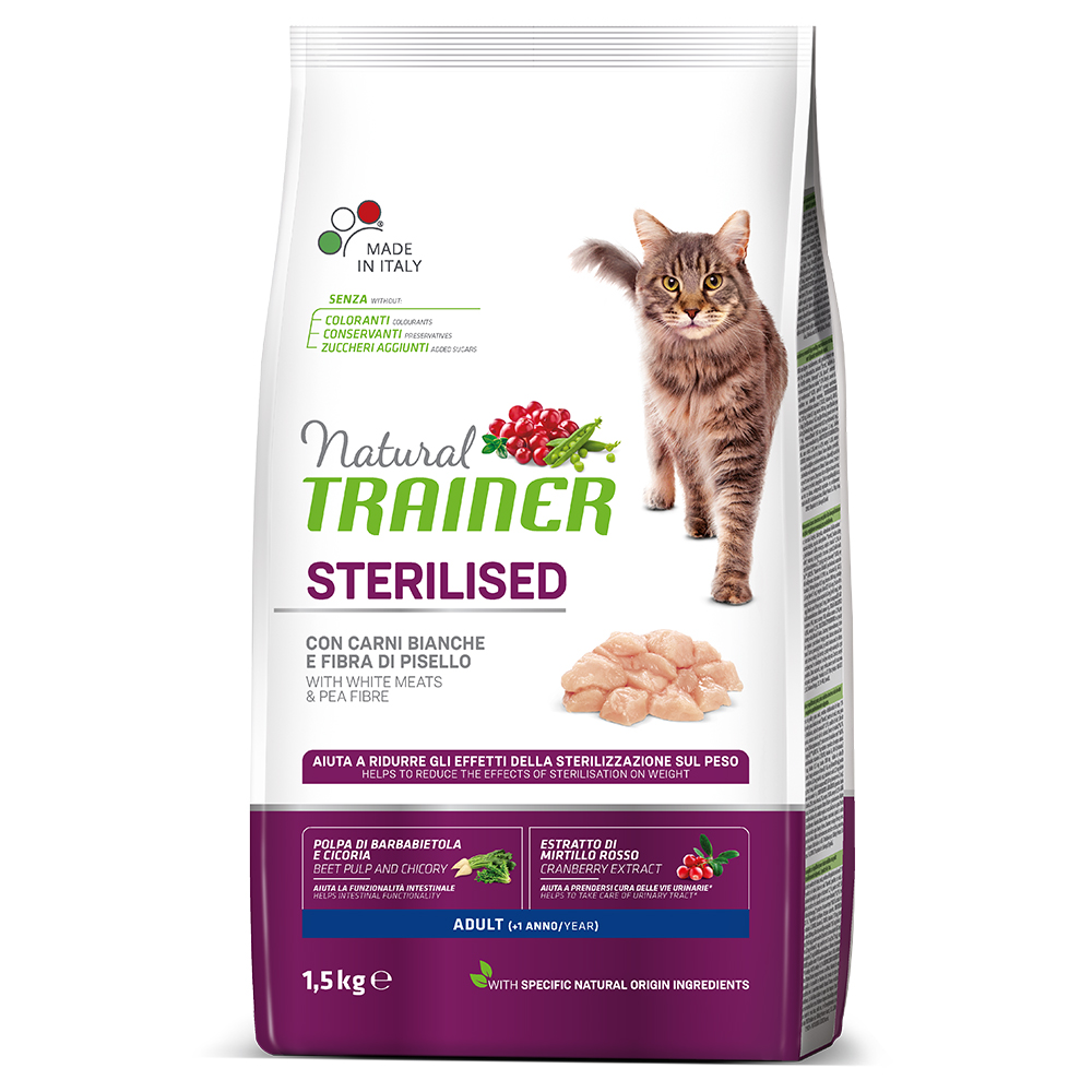 Natural TRAINER CAT Sterilised Adult con Carni Bianche kg1,5