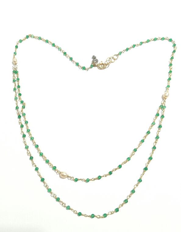Collana agate verdi e perle coltivate
