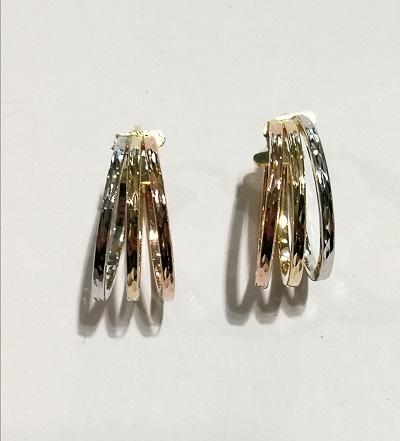 Orecchini anelle ovali oro 18 carati composte da 3 cerchi nei 3 diversi colori dell''oro di cm 2,0 diametro esterno