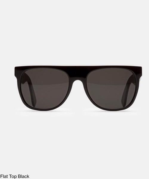 Super Flat Top Black  Retrosuperfuture Occhiali da Sole Unisex