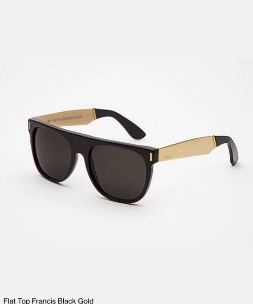 Super Flat Top Francis Black Gold  Retrosuperfuture Occhiali da Sole Unisex