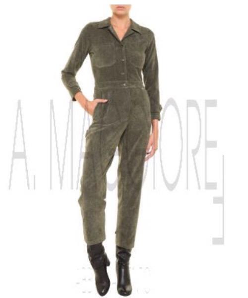 BERNA tuta verde militare in velluto