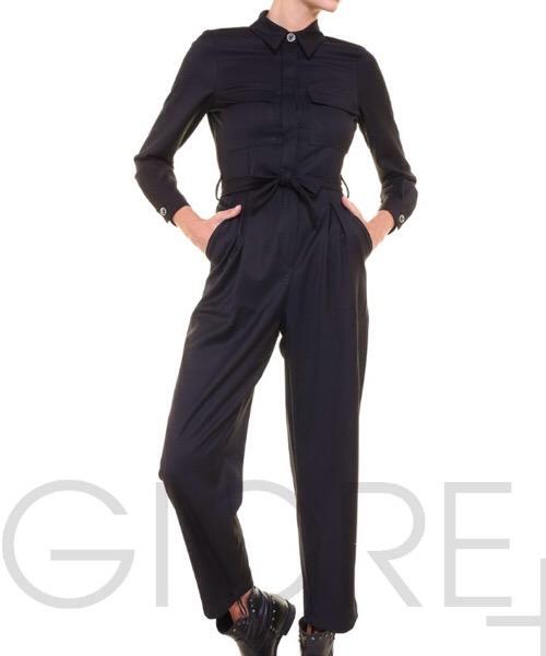 BERNA tuta nera con cintura decorativa
