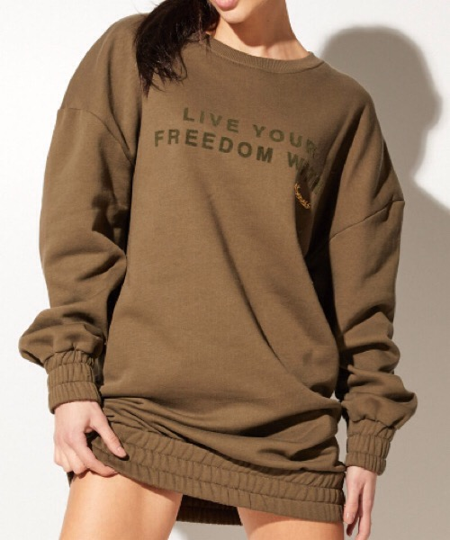 MAXI PULL STAMPA 'LIVE YOUR FREEDOM WITH'4 Giveness