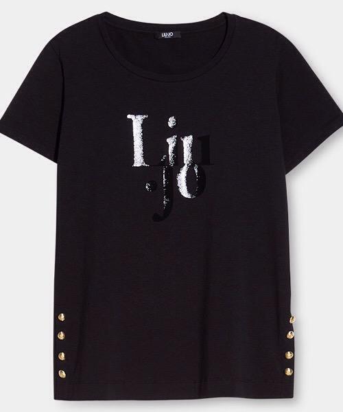 T-Shirt con logo con bottoni gioiello  Liu Jo