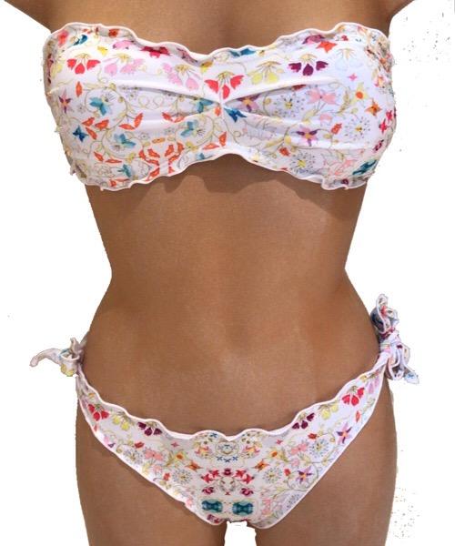 Bikini Changit a fascia fantasia floreale e slip frou frou brasiliano  ss 2020