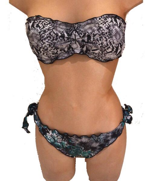 Bikini Effek  a fascia e bretelline rimovibili  e slip laccetto brasiliano regolabile 2020
