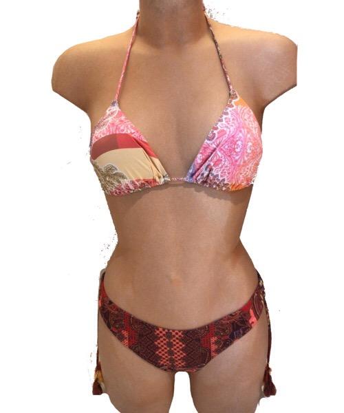 Bikini F**K Bikini a triangolo inserti tulle slip brasiliano