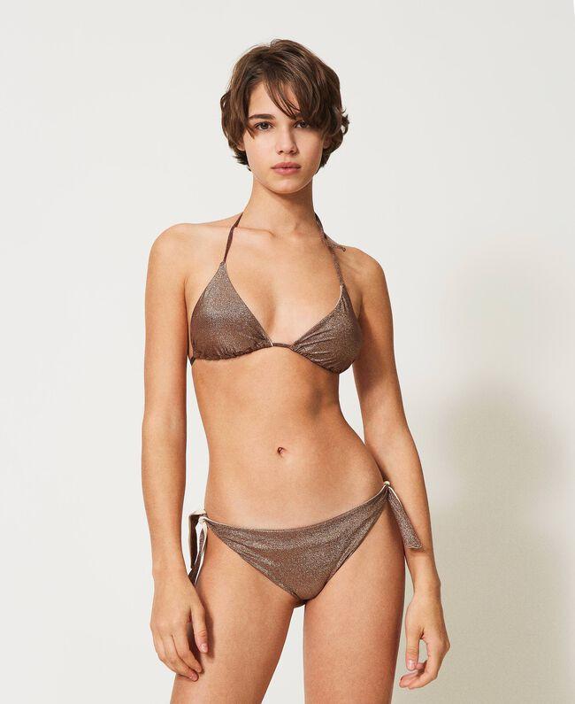 Twin-Set Tanga da bagno con fiocchi in lurex Bikini 2021