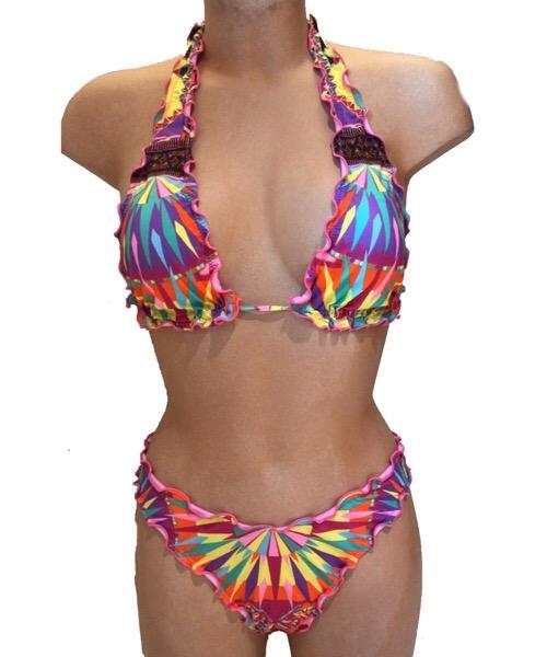 Bikini Changit a triangolo e slip brasiliano  multicolore ss 2020
