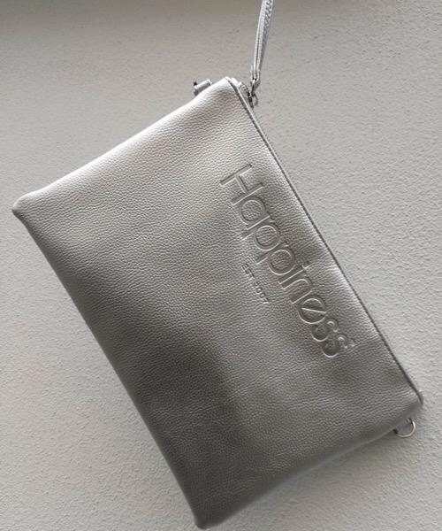Borsa Pochette Happiness argento metal in ecopelle