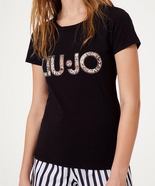 T-Shirt Logo Animalier e Strass Liu Jo