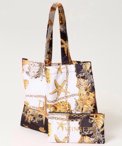 Borsa shopper in nylon stampato Twin-Set