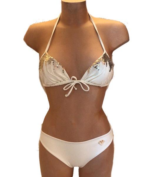 Reggiseno Twin-Set a triangolo  imbottito e ricamato paillettes bikini 2020
