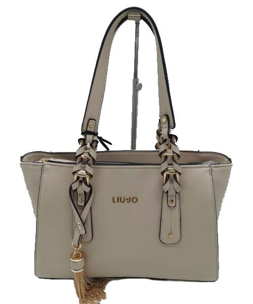 BORSA LIU JO NA 0094 COLOR NEUTRO SHOPPING IN ECOPELLE LISCIA CON NAPPINA