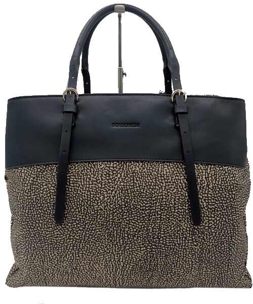 Borbonese Shopping bag large con fascia  in pelle nera