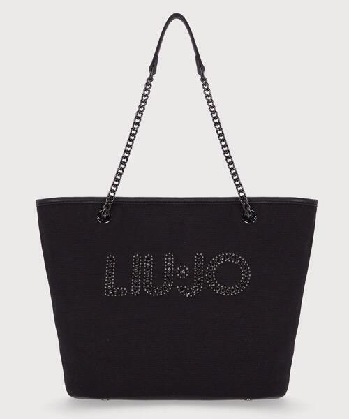 LIU JO Shopping bag in canvas nera