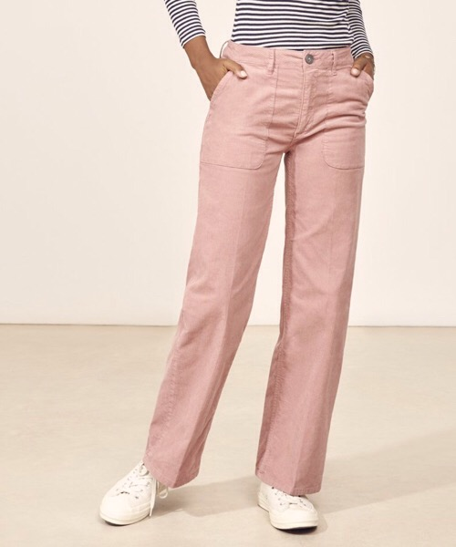SUNDAY - Pantalone dritto in velluto Rosa Lab Dip