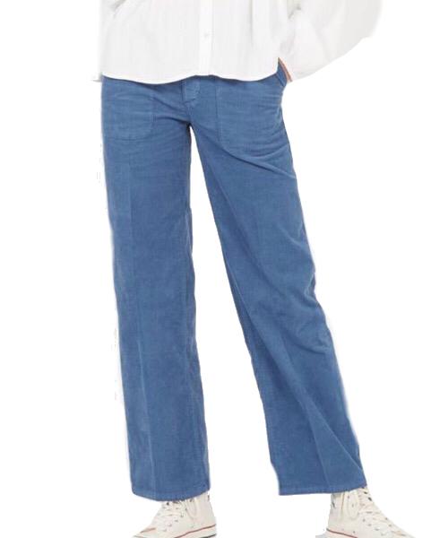 SUNDAY - Pantalone dritto in velluto Azzurro  Lab Dip
