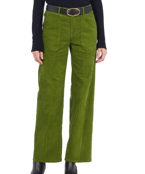 SUNDAY - Pantalone dritto in velluto Verde Lab Dip