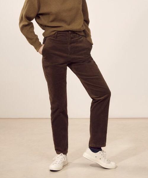 Jules - Pantalone dritto a vita alta in velluto a coste tabacco Lab Dip