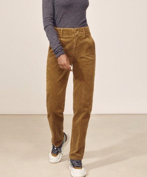 Jules - Pantalone dritto a vita alta in velluto a coste marrone Lab Dip