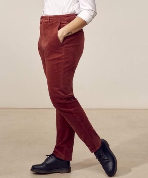 Jules - Pantalone dritto a vita alta in velluto a coste granata  Lab Dip