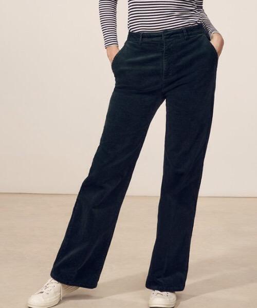 JOHN - Pantalone largo in velluto a coste  blu Lab Dip