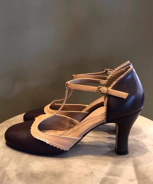 Calzatura tango Cheville  bicolore in pelle