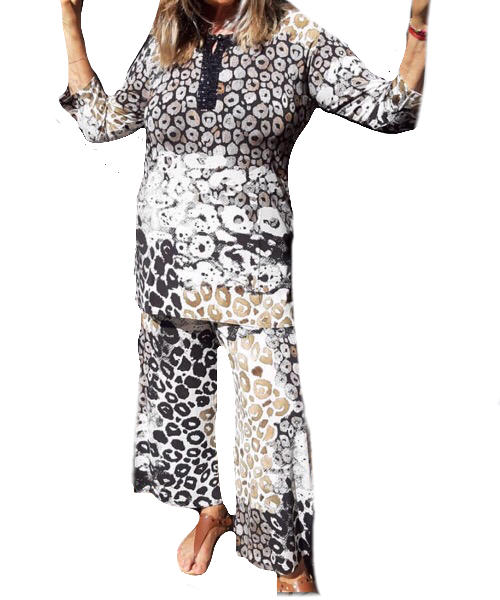Pantalone animalier Jersey lucido profilata in paillettes