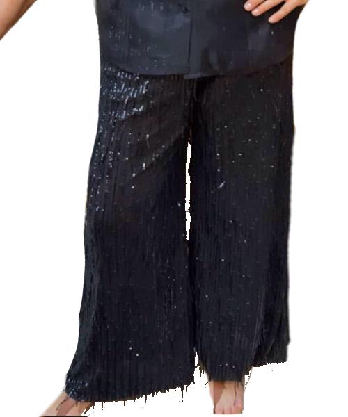 Pantaloni filo di paillettes