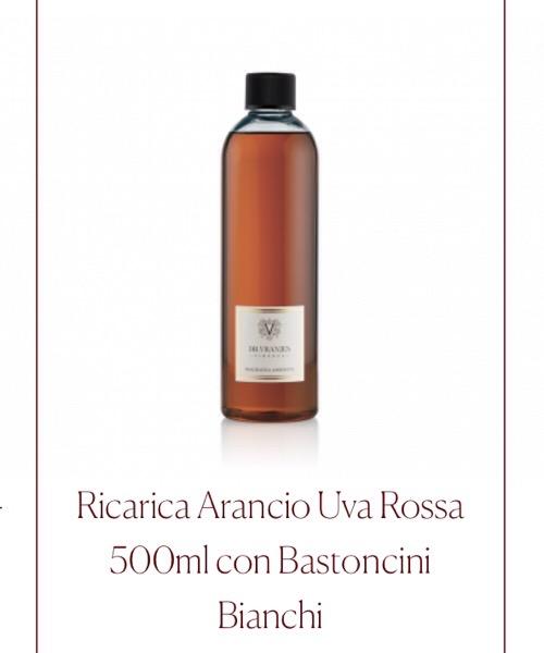 Fragranza ambiente Ricarica Arancio e Uva Rossa  Dr.Vranjes Firenze con Bastoncini Bianchi