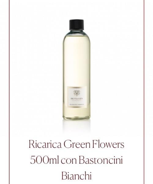 Fragranza ambiente Ricarica Green Flower Dr.Vranjes Firenze con Bastoncini Bianchi
