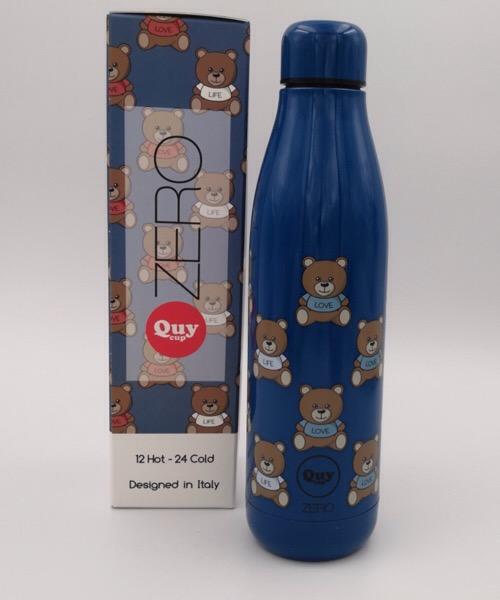 QUY CUP Zero 500ml. Thermos in Acciaio Inossidabile. Blu e orsetto