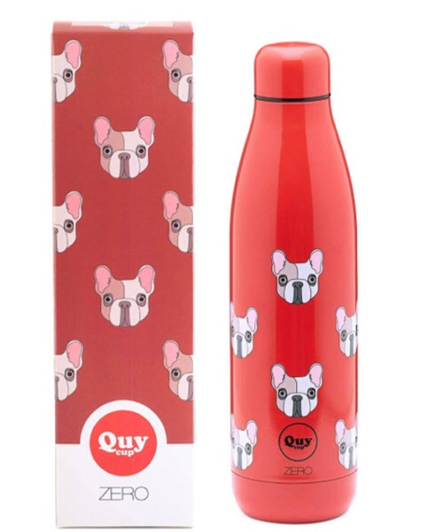 QUY CUP Zero 500ml. Thermos in Acciaio Inossidabile. Rossa e bulldog