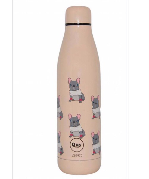 QUY CUP Zero 500ml. Thermos in Acciaio Inossidabile. Rosa e Bulldog