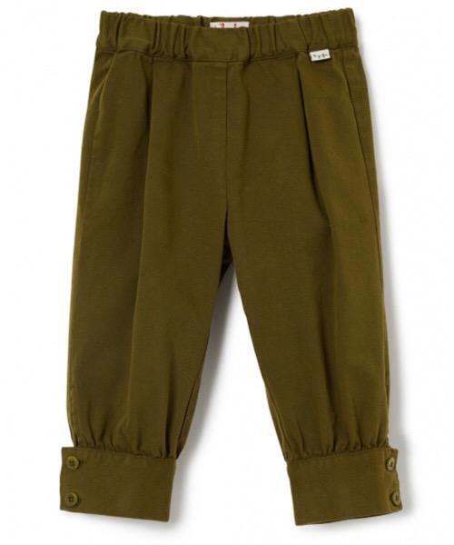 pantaloni  con polsini verde militare  bimba il Gufo