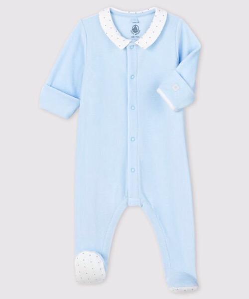 Tutina azzurra da neonato con colletto in velluto Petit Bateau