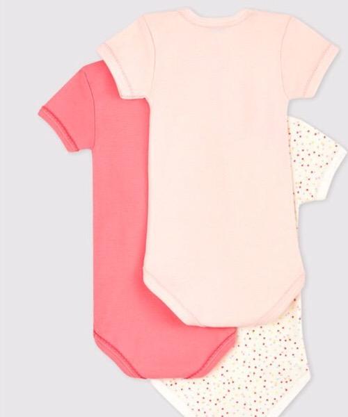 Confezione da 3 body incrociati manica corta bebè in cotone biologico Petit Bateau