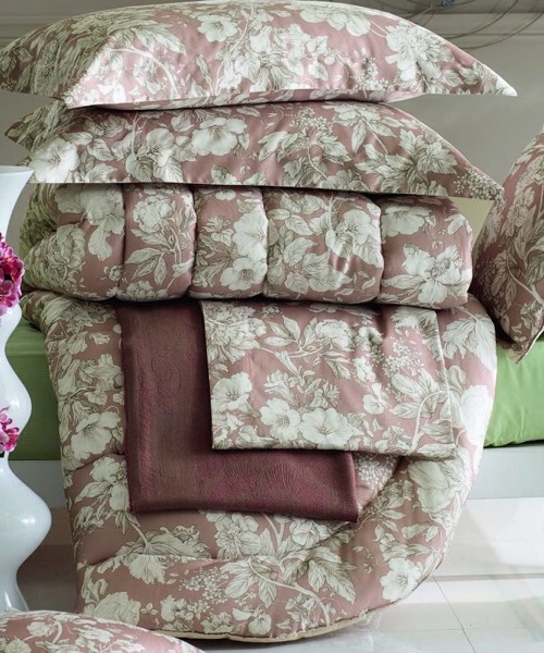 Completo lenzuola matrimoniale Isabel rosa in raso di cotone stampato di Blumarine