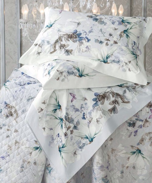 Completo lenzuola matrimoniale Magnolia rugiada in percalle di puro cotone di Blumarine