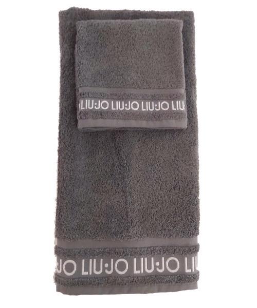 Coppia 1+1 asciugamani grigio in spugna