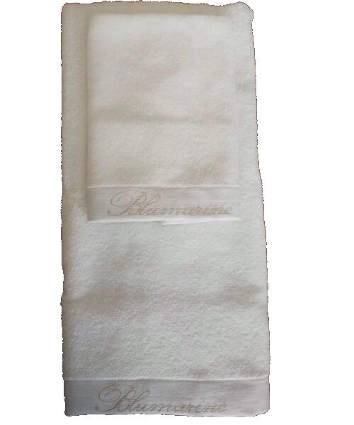Coppia 1+1 asciugamani bianco in spugna SPA di Blumarine