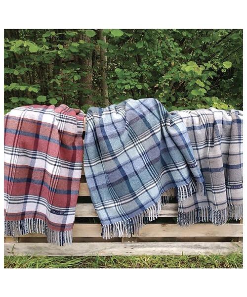 Plaid Scot blu 130 x 180 in misto lana merino
