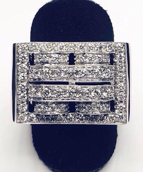 Anello Art Dèco in oro bianco 18 kt e diamanti