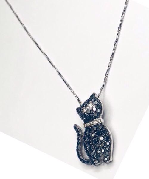 Collier  Gatto nero in oro bianco 18 kt e diamanti bianchi e neri