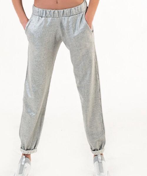 Pantalone felpa laminata argento